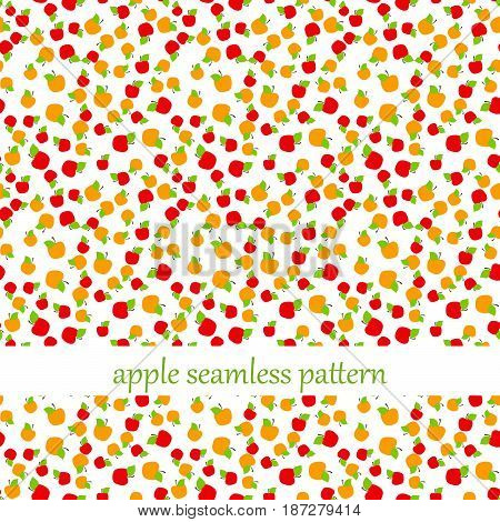 seamless pattern with many red and orange apples. vector