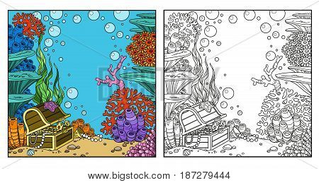 Underwater World With Corals And Treasure Chest Coloring Page On White Background