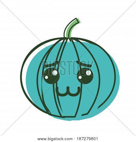 kawaii nice shy pumpkin vegetable, vector illustration design