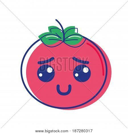 kawaii nice shy tomato vegetable, vector illustration