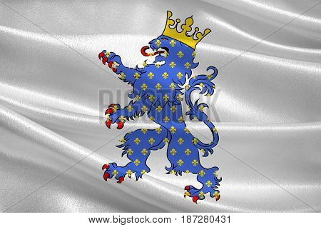 Flag of Compiegne is a commune in the Oise department in northern France. 3d illustration