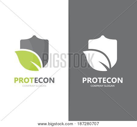 Vector of shield and leaf logo combination. Security and eco symbol or icon. Unique protect and organic logotype design template.
