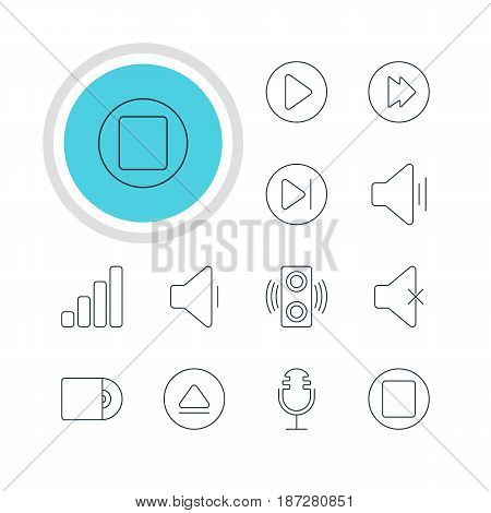 Vector Illustration Of 12 Music Icons. Editable Pack Of Rewind, Decrease Sound, Amplifier And Other Elements.