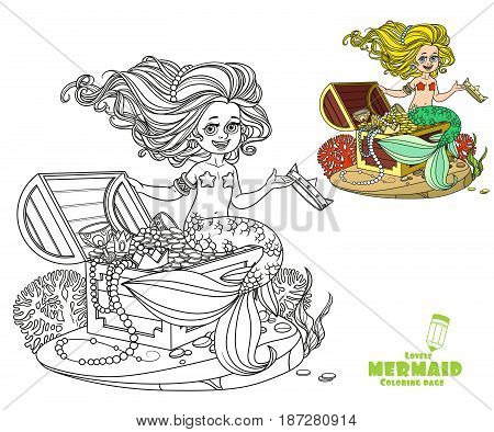 Beautiful Little Mermaid Girl Is Sitting On A Treasure Chest And Keep The Crown On The Hand Coloring