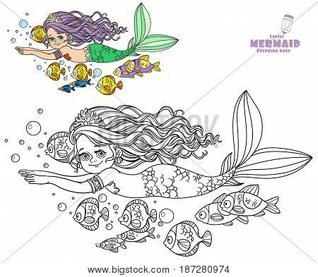 Beautiful Little Mermaid Girl Swim With Fish Coloring Page On A White Background