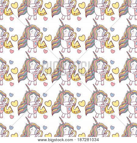 beautiful unicorn play saxophone instrument background, vector illustration