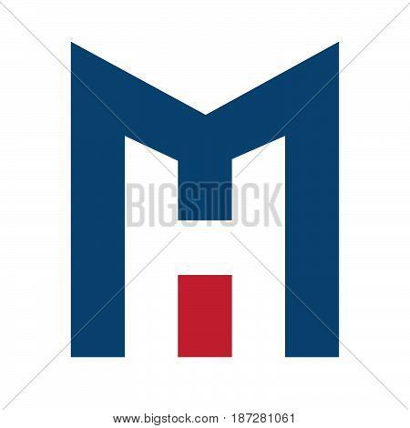 MH Letter business branding vector logo design.