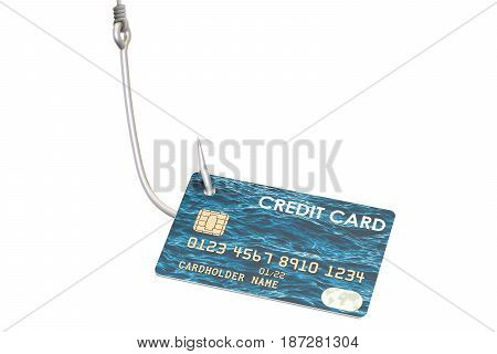 Credit card on the hook phishing concept. 3D rendering isolated on white background