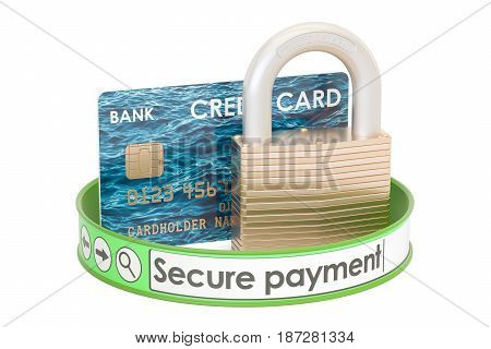 Credit card padlock online security payment concept. 3D rendering