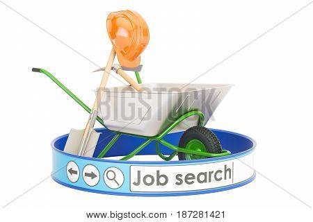 Job Search online concept 3D rendering isolated on white background