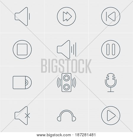 Vector Illustration Of 12 Music Icons. Editable Pack Of Lag, Volume Up, Decrease Sound And Other Elements.