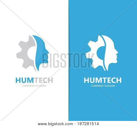 Vector of man and gear logo combination. Face and mechanic symbol or icon. Unique factory and industrial logotype design template.