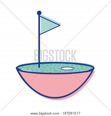 golf flag play game field, vector illustration