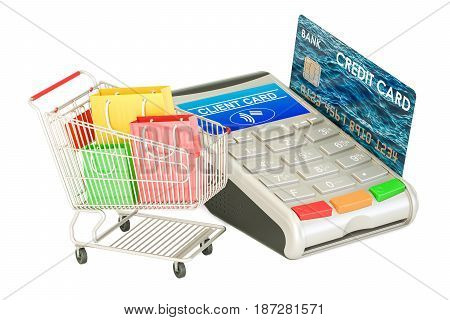 Shopping concept. POS-terminal with credit card and shopping cart with shopping bags 3D rendering