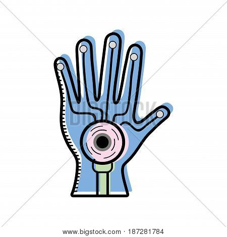 virtual hand inside digital game experience, vector illustration