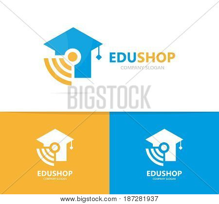 Vector of graduate hat and wifi logo combination. Study and signal symbol or icon. Unique college and radio, internet logotype design template.
