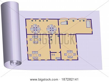 planning. abstract interior in technical vector illustration