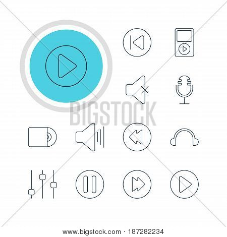 Vector Illustration Of 12 Music Icons. Editable Pack Of Mike, Lag, Mp3 And Other Elements.