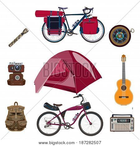 Vector set of camping icons. Touring bicycles with bikepacking gear tent camera backpack guitar compass radio and flashlight flat style design elements isolated on white background.