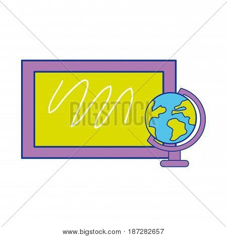 school board with earth planet desk, vector illustration design