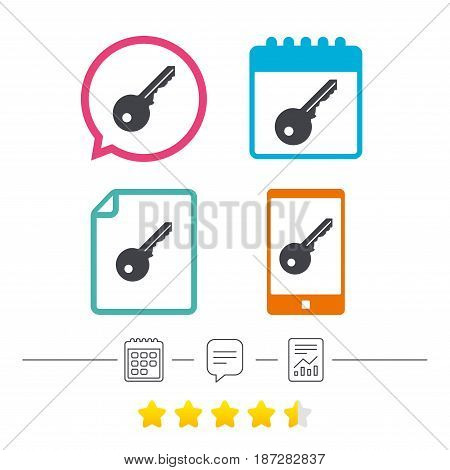 Key sign icon. Unlock tool symbol. Calendar, chat speech bubble and report linear icons. Star vote ranking. Vector