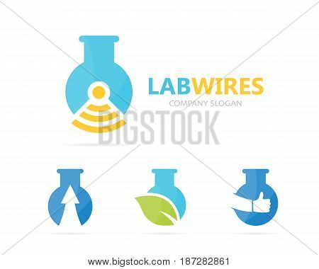 Vector of flask and wifi logo combination. Laboratory and signal symbol or icon. Unique bottle and radio logotype design template.