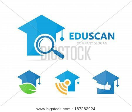 Vector of graduate hat and loupe logo combination. Study and magnifying glass symbol or icon. Unique college and search logotype design template.
