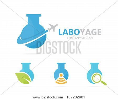 Vector of flask and airplane logo combination. Laboratory and travel symbol or icon. Unique flight and science logotype design template.