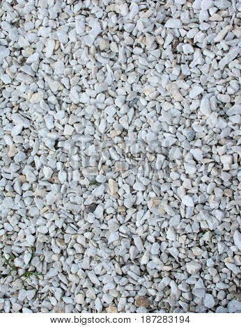Beautiful unusual background of small fresh pebbles. White pebbles for decorative paths.