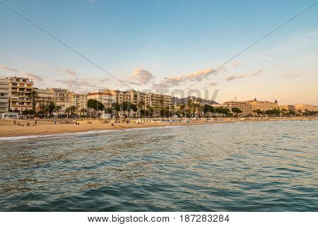 Cannes Bay At Sunset