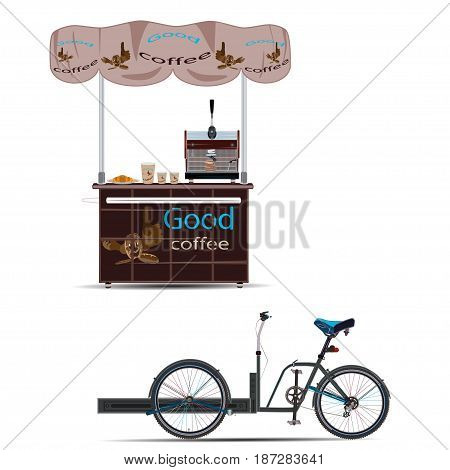 Vector illustration of tricycles coffee bike and sales stand isolated on white background. Mobile coffee bike business template flat style design elements.