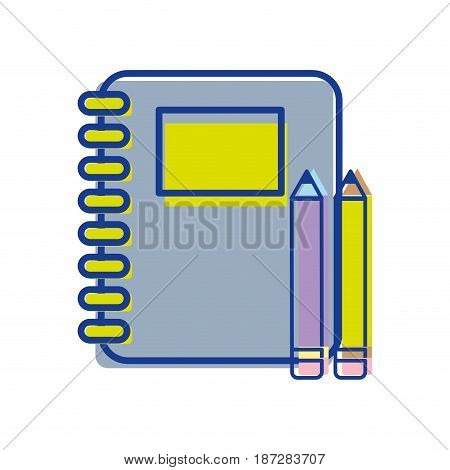 rings notebook tool with pencils icon, vector illustration