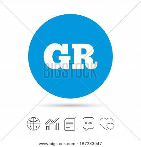 Greek language sign icon. GR Greece translation symbol. Copy files, chat speech bubble and chart web icons. Vector