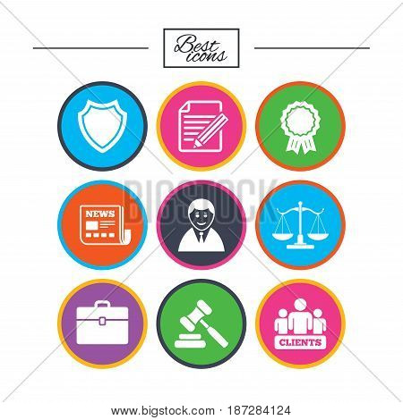 Lawyer, scales of justice icons. Clients, auction hammer and law judge symbols. Newspaper, award and agreement document signs. Classic simple flat icons. Vector