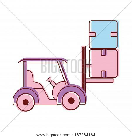 truck to move the boxes package delivery, vector illustration