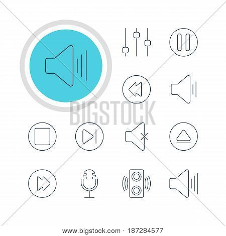 Vector Illustration Of 12 Melody Icons. Editable Pack Of Subsequent, Lag, Reversing And Other Elements.