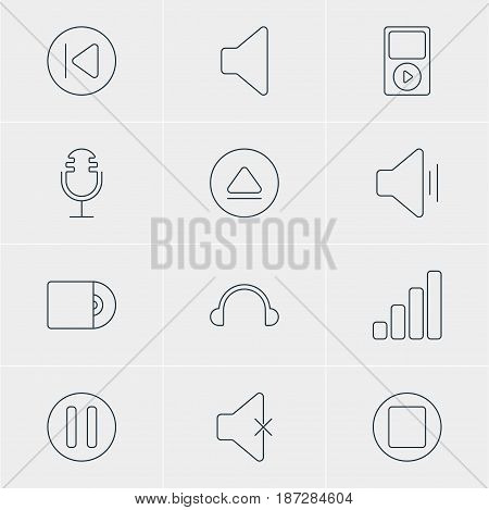 Vector Illustration Of 12 Melody Icons. Editable Pack Of Earphone, Speaker, Compact Disk And Other Elements.