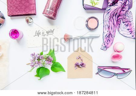 Beauty Blog Concept. Lilac Colour. Female Styled Accessories: Notebook, Sunglasses, Bijouterie Items