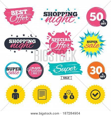 Sale shopping banners. Special offer splash. Bank loans icons. Cash money bag symbol. Apply for credit sign. Check or Tick mark. Web badges and stickers. Best offer. Vector