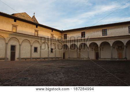 Italy Florence - December 24 2016: the view of the fore courtyard of Florence Charterhouse church Certosa di Galluzzo di Firenze on December 24 2016 in Florence Tuscany Italy.