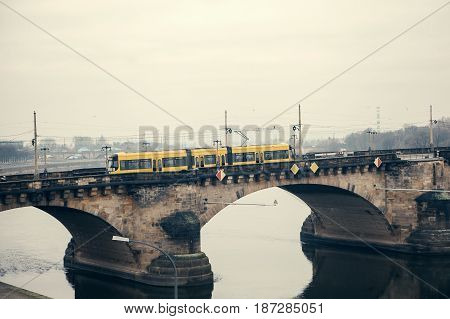 The modern tramway in Dresden in Germany. Life in Europe.