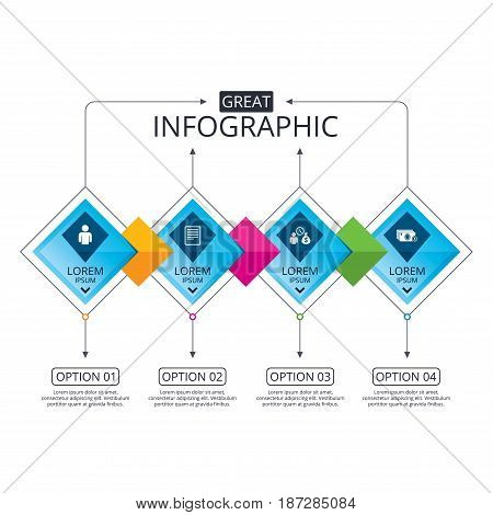 Infographic flowchart template. Business diagram with options. Bank loans icons. Cash money bag symbol. Apply for credit sign. Fill document and get cash money. Timeline steps. Vector