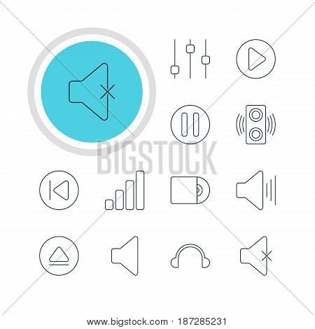 Vector Illustration Of 12 Melody Icons. Editable Pack Of Speaker, Start, Earphone And Other Elements.