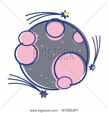 planet in the nebulae space with astral stars, vector illustration