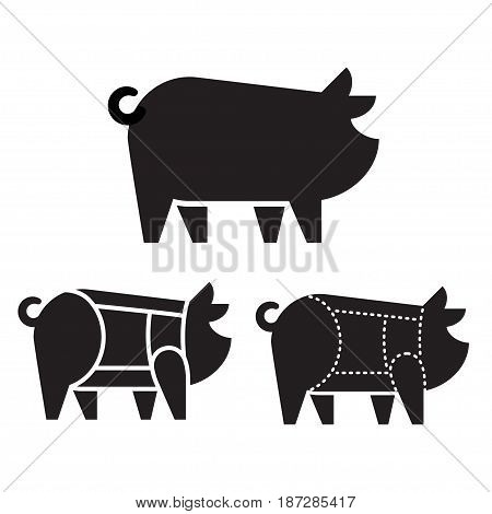 Pig silhouette icon with pork cuts chart. Meat and butcher industry infographic vector illustration.