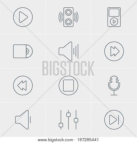 Vector Illustration Of 12 Melody Icons. Editable Pack Of Advanced, Amplifier, Start And Other Elements.