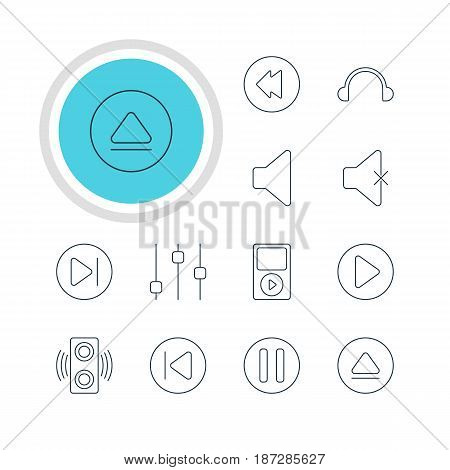 Vector Illustration Of 12 Melody Icons. Editable Pack Of Rewind, Lag, Subsequent And Other Elements.