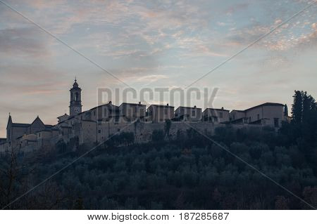 Italy Florence - December 24 2016: the view of the Florence Charterhouse church Certosa di Galluzzo di Firenze on December 24 2016 in Florence Tuscany Italy.