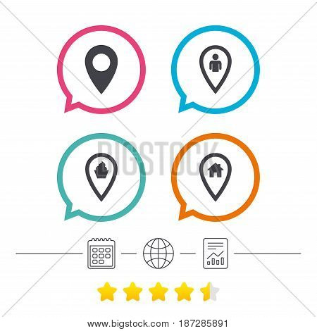 Map pointer icons. Home, food and user location symbols. Restaurant and cupcake signs. You are here. Calendar, internet globe and report linear icons. Star vote ranking. Vector