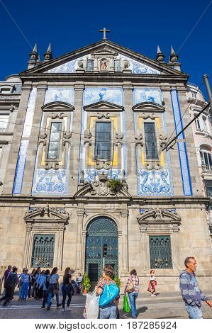 PORTO PORTUGAL - OCTOBER 20 2015: Church of Saint Antony of Congregados - Igreja de Santo Antonio dos Congregados built in 1703 and covered with typical Portuguese blue tiles called Azulejos Porto Portugal